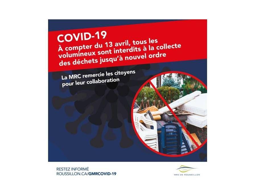 COVID-19 | Suspension de la collecte des volumineux